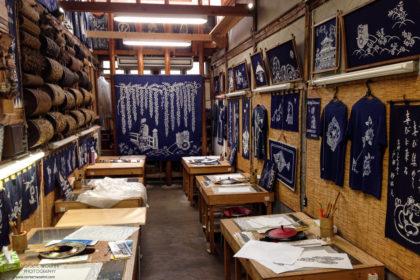 Interior of Indigo Dyeing Shop, Kyoto, Japan Photo