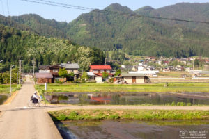 Riding the Bicycle Home from School, Hida, Japan Photo