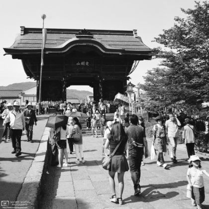 Visitors around Niomon Gate, Zenkoji Temple, Nagano, Japan Photo
