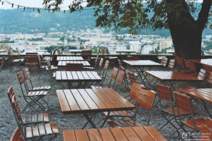 Schlossberg Outdoor Restaurant Tables, Graz, Austria Photo