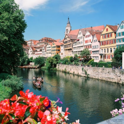 Neckar Waterfront from Eberhard Bridge, Tübingen, Germany Photo