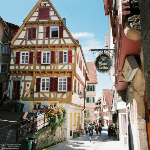 Old Town Haaggasse with Ratskeller Restaurant, Tübingen, Germany Photo