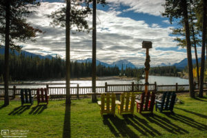 Deck Chairs facing the Athabasca River in Jasper National Park, Alberta, Canada.