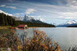 Maligne Lake Boat House, Jasper National Park, Canada Photo