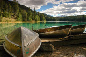 A calm day at the boat rental pier in the Valley of the Five Lakes in Jasper National Park, Alberta, Canada.