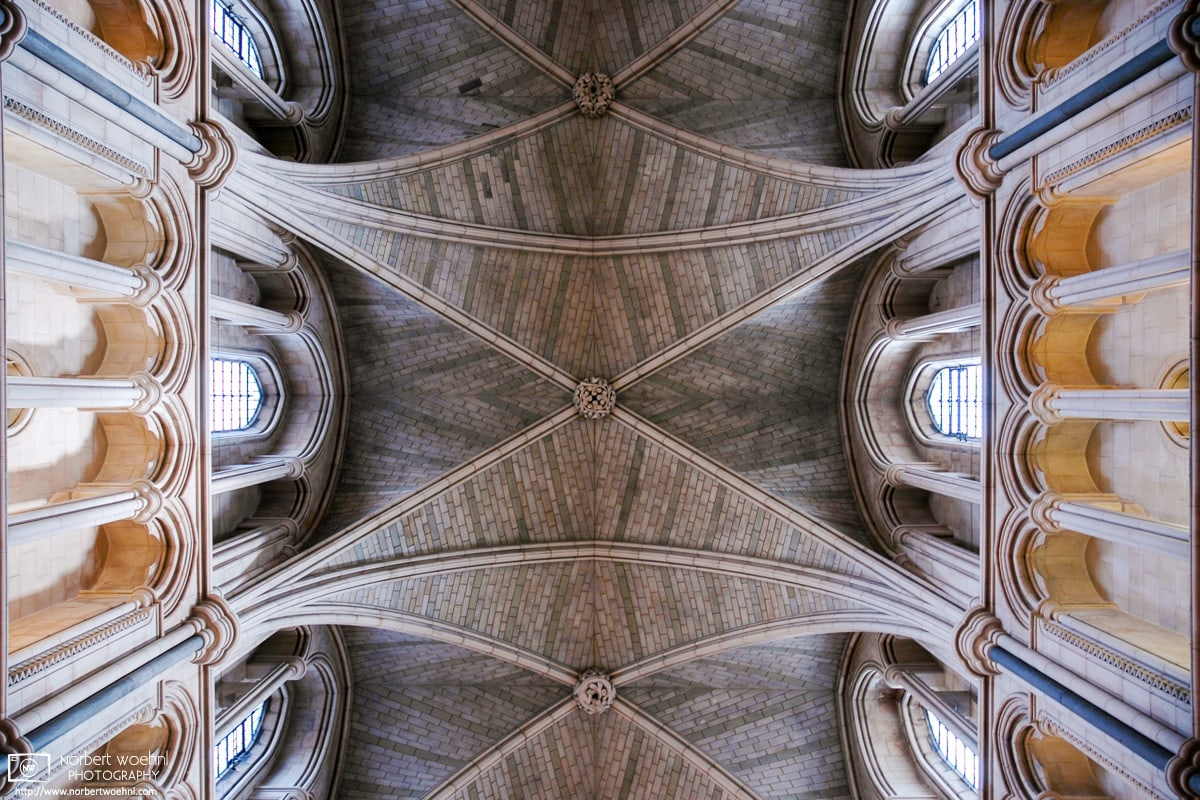 An architectural detail study of the Nave of Southwark Cathedral in London, England.