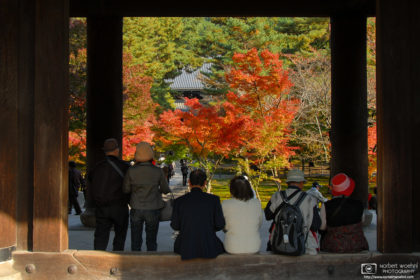 At Nanzenji Temple (南禅寺) in Kyoto, Japan, visitors are seen enjoying autumn colors while sitting in the doorframe of the Sanmon Gate.