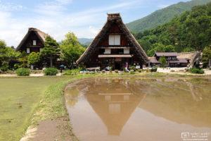 Ogimachi Village Houses Reflection, Shirakawago, Gifu, Japan Photo
