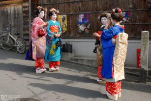 Kimono Women in Maiko Outfit Clothes, Ninenzaka, Kyoto, Japan Photo
