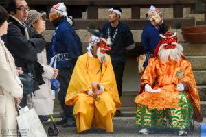 Masks at the New Year's Festival, Kibitsuhiko Shrine, Soja, Okayama Prefecture, Japan Photo