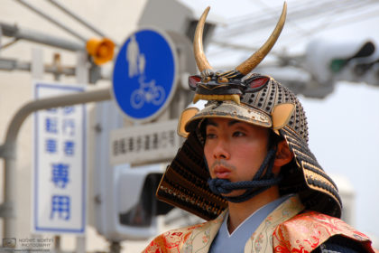 A participant is seen wearing a period costume during the annual Musha Gyoretsu Warrior Parade in Matsue, the capital of Shimane Prefecture in Japan.