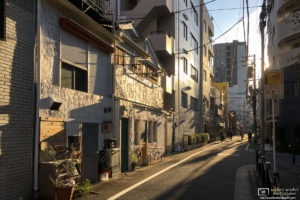 Moody sunlight on a winter morning in the area around JR Itabashi Station in Tokyo, Japan.