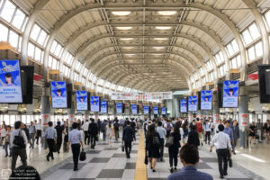 A look at the mid-day flow of people in the concourse of Shinagawa Station in Tokyo, Japan.