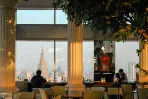 A scene from the cafe/bar on the 45th floor of the Metropolitan Government Building in Shinjuku, Tokyo, Japan.