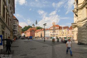Hauptplatz with Clock Tower (Uhrturm) in the background, Graz, Austria Photo