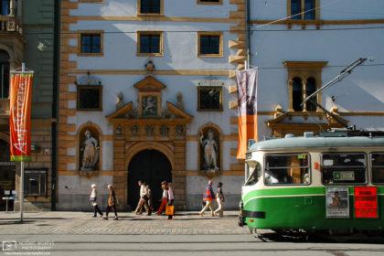 Tram passing Landhaus, Herrengasse, Graz, Austria Photo