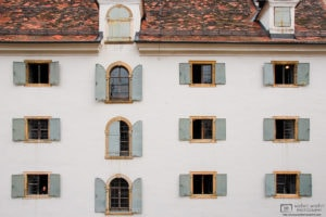 A view of the windows on the backside of the Styrian Armory in Graz, Austria, built between 1642 and 1647.