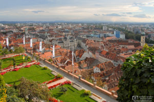 View of Old Town and City Hall from Schlossberg, Graz, Austria Photo