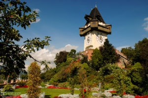 Clock Tower (Uhrturm) from Herberstein Gardens, Schlossberg, Graz, Austria Photo