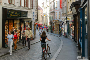 A scene from Sporgasse, the oldest street in the city of Graz, Austria.