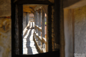 A view into the pedestrian corridor of the historic town fortification wall in Rothenburg ob der Tauber, Germany.