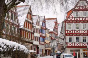 A winter view of half-timbered houses along Marktplatz (Market Square) in Calw, Germany.