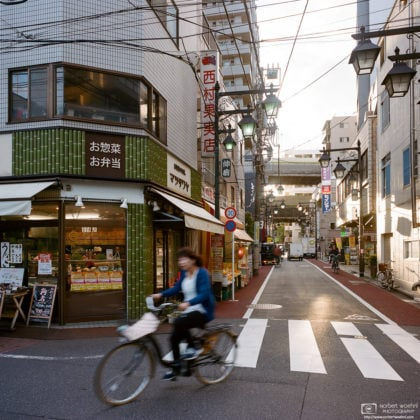 Late afternoon at a street corner in Nakajuku, a friendly neighborhood in Tokyo's Itabashi-ku.