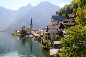 A view of Hallstatt in Upper Austria, as seen from an outlook north of the city center.