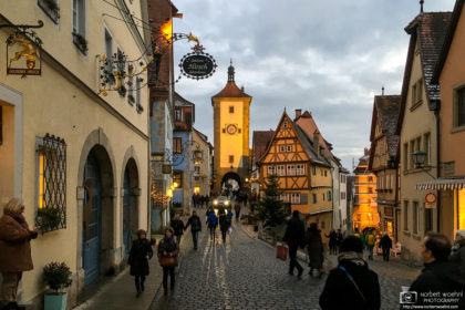 Evening Mood around the Plönlein on a winter day in Rothenburg ob der Tauber, Bavaria, Germany.