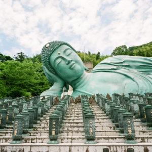The Reclining Buddha statue at Nanzoin Temple in Sasaguri, Fukuoka Prefecture, Japan.