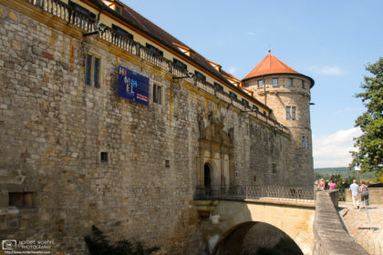 A view outside the upper gate and the 16th-century northeast tower of Hohentübingen Castle in Tübingen, Germany.