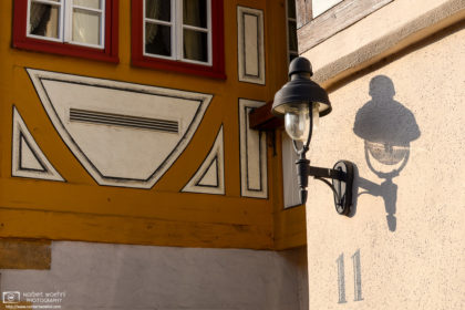 An architectural detail at an old street corner in the small town of Waldenbuch, Southwestern Germany.