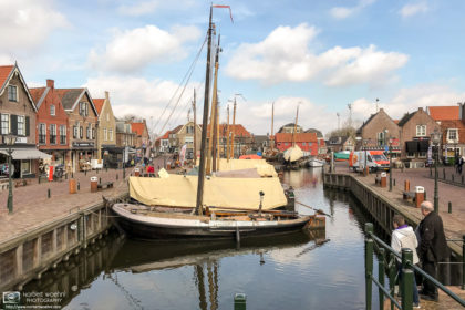 A view of the old port at Bunschoten-Spakenburg, an idyllic village in the province of Utrecht, Netherlands.