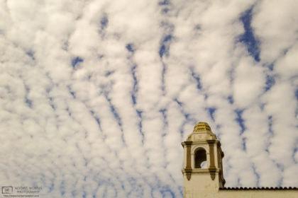 An architectural detail on Beach Street in Santa Cruz, CA, against a fantastic sky.