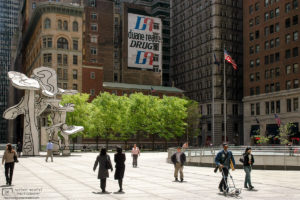 """Jean Dubuffet's """"Groupe de quatre arbres"""" sculpture on Chase Manhattan Plaza in New York City, USA."""