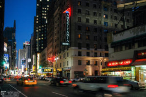 Night traffic on Broadway in Manhattan, New York City, USA.
