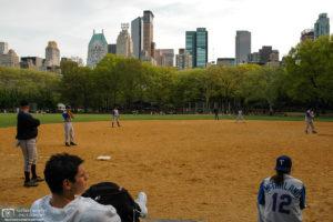 Baseball practice at Heckscher Ballfields in Central Park, New York City, USA.