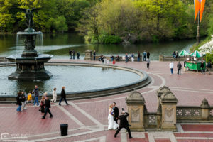 A wedding shoot near Bethesda Fountain in Central Park, New York City, USA.