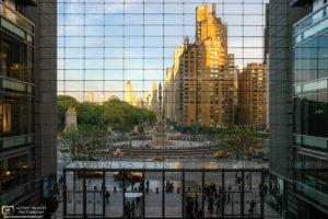View from inside Time Warner Center towards Columbus Circle, Manhattan, New York, USA.