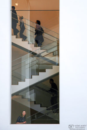 A visitor looks through a window at the Museum of Modern Art (MoMA) in New York City, USA.