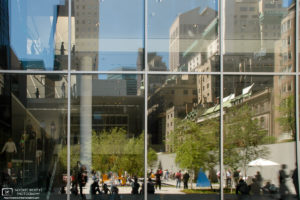 Window reflections at the Museum of Modern Art in New York City, USA.