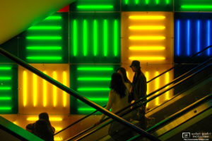 """Escalators inside the """"Toys R' Us"""" Store on Times Square in New York City, USA."""