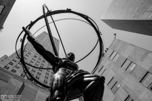 Upward angle shot of the Atlas Statue at Rockefeller Center in Manhattan, New York City, USA.