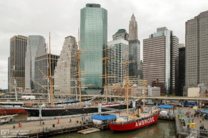 A view of South Street Seaport in lower Manhattan, New York, USA.