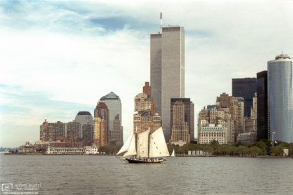 Taken on a Circle Line Cruise in September 1996, this photo of New York Harbor shows the old World Trade Center.