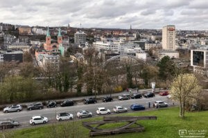 View over downtown Wuppertal in North Rhine-Westphalia, Germany, on an overcast April evening.