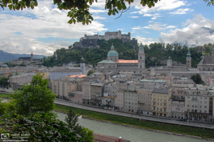 A view of the historic city center of Salzburg, Austria, as seen from Kapuzinerberg north of Salzach river.