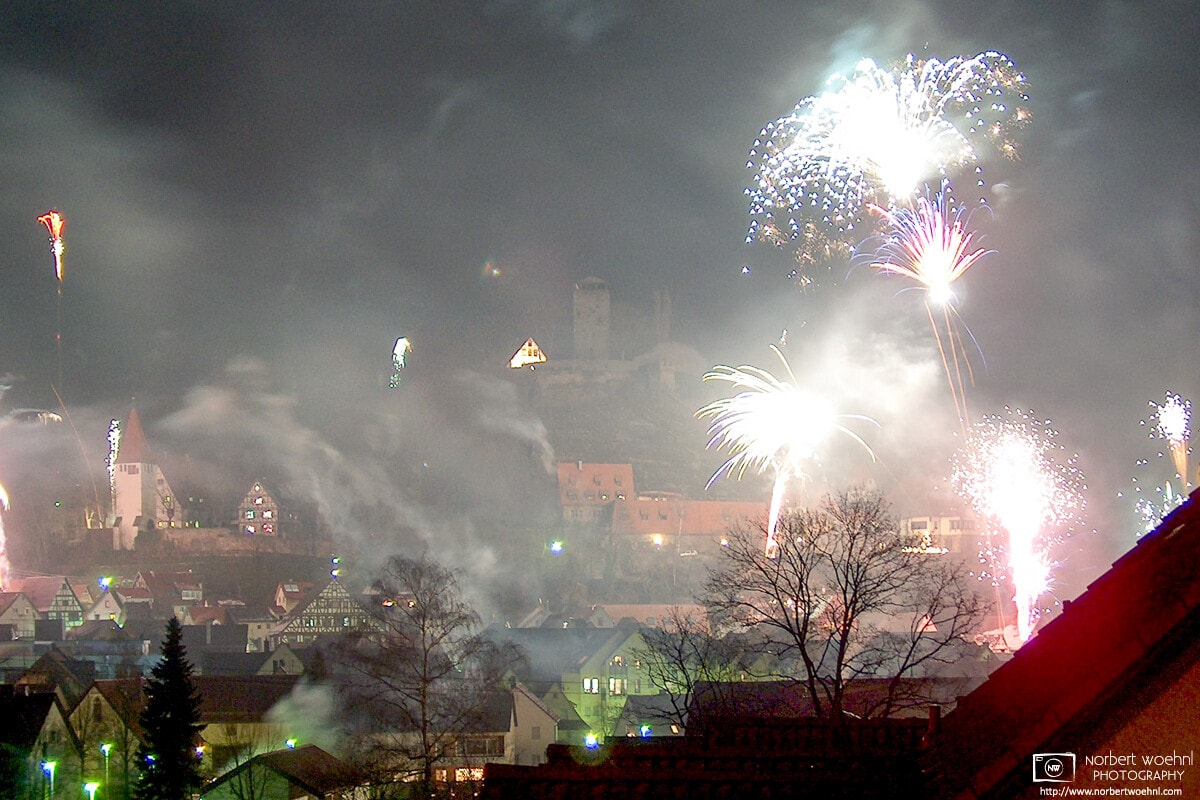 The 2004 New Year's fireworks in the historic small town of Beilstein in southwestern Germany.