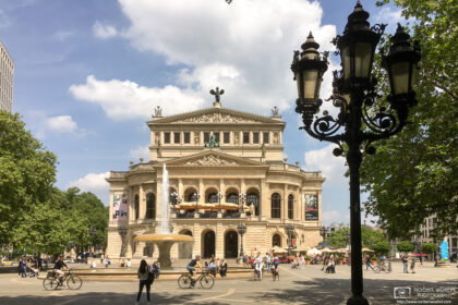 Early summer on Opernplatz (Opera Square) in Frankfurt, Germany, with a view of the Alte Oper building.