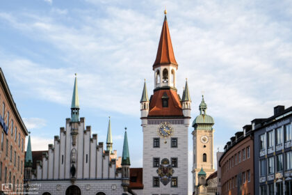 Spires of the Old Town Hall and Heilig-Geist-Kirche (Church of the Holy Spirit) in Munich, Germany.